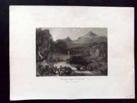 After Melville 1846 Antique Print. Mountain Temples, Lake of Aboo, India
